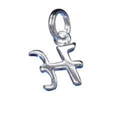 Sterling Silver 8mm Fancy Block Initial *h* Charm With Split Ring