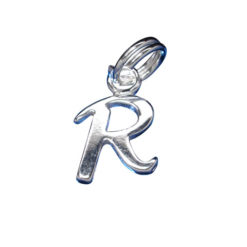 Sterling Silver 8mm Fancy Block Initial *r* Charm With Split Ring