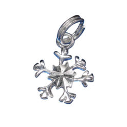 Sterling Silver 11mm Snowflake Charm With Split Ring