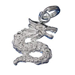 Sterling Silver 14x12mm Dragon Charm With Split Ring