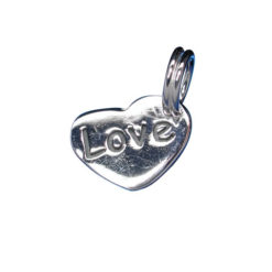 Sterling Silver 10x9mm *love* Heart Charm With Split Ring