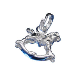 Sterling Silver 11x12mm Rocking Horse Charm With Split Ring