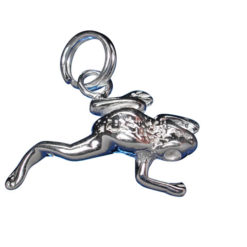 Sterling Silver 16x13mm Frog Charm With Split Ring