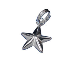 Sterling Silver 11mm Puff Star Charm With Split Ring