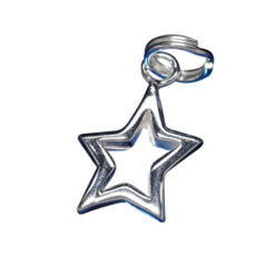 Sterling Silver 12x10mm Cut Out Star Charm With Split Ring