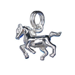 Sterling Silver 11x15mm Running Horse Charm With Split Ring