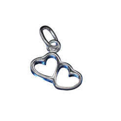 Sterling Silver 10x7mm Double Heart Charm With Split Ring