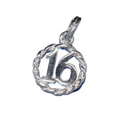 Sterling Silver 11mm Block *16* In Circle Charm With Split Ring
