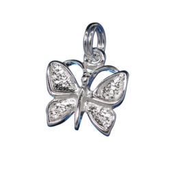 Sterling Silver 11x12mm Butterfly Charm With Split Ring