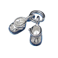Sterling Silver 7mm Pair Of Baby Booties Charm With Split Ring