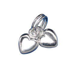 Sterling Silver 6mm Double Puff Hearts Charm With Split Ring