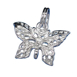 Sterling Silver 10x16mm Butterfly Charm With Split Ring