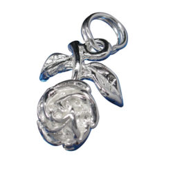 Sterling Silver 13x10mm Rose Flower Charm With Split Ring