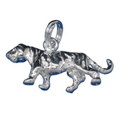 Sterling Silver 10x22mm Tiger Charm With Split Ring