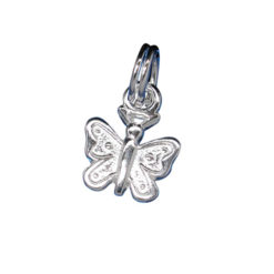 Sterling Silver 7x9mm Butterfly Charm With Split Ring