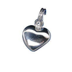 Sterling Silver 10mm Puff Heart Charm With Split Ring