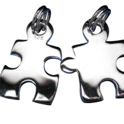 Sterling Silver 18mm Pair Of Puzzle Pieces Charms With Split Rings (pair)