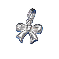 Sterling Silver 9x10mm Ribbon Bow Tie Charm With Split Ring