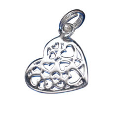 Sterling Silver 15x13mm Filigree Heart Charm With Split Ring