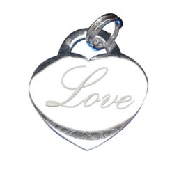 Sterling Silver 19x17mm Heart *love* Charm With Split Ring