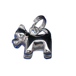 Sterling Silver 10x13mm Dog Charm With Split Ring