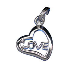 Sterling Silver 13x12mm *love* Heart Charm With Split Ring