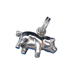 Sterling Silver 8x15mm Pig Charm With Split Ring