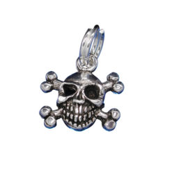 Sterling Silver 12x10mm Skull And Cross Bones Charm With Split Ring