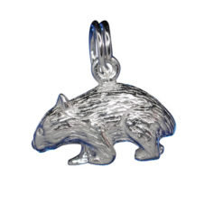 Sterling Silver 9x15mm Wombat Charm With Split Ring
