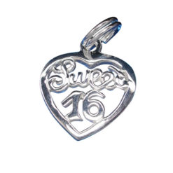 Sterling Silver 13x13mm *sweet 16* Heart Charm With Split Ring