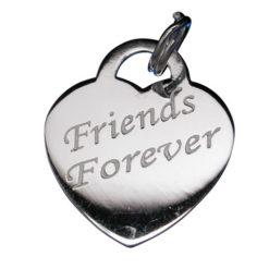 Sterling Silver 18x16mm *friends Forever* Heart Charm With Split Ring