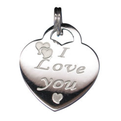 Sterling Silver 18x16mm *i Love You* Heart Charm With Split Ring