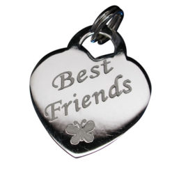 Sterling Silver 18x16mm *best Friends* Heart Charm With Split Ring