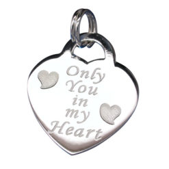 Sterling Silver 18x16mm *only You In My Heart* Heart Charm With Split Ring