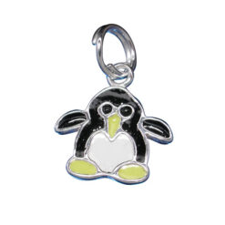 Sterling Silver 11x12mm Black And Yellow Enamel Penguin Charm With Split Ring