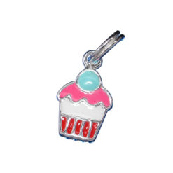 Sterling Silver 11x8mm Pink Enamel Cupcake Charm With Split Ring