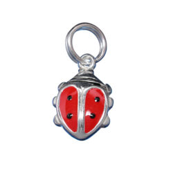 Sterling Silver 11x8mm Red Enamel Ladybird Beetle Charm With Split Ring