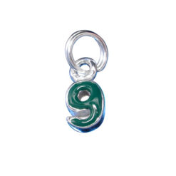 Sterling Silver 7x5mm Block Green 9 Charm With Split Ring