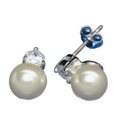 Sterling Silver 8mm White Imitation Pearl & 4mm Cubic Zirconia Std Earrings