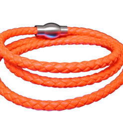 Stainless Steel And Italian Leather 4mm Wrap Bracelet 18.5cm (56cm Extended) Orange Neon
