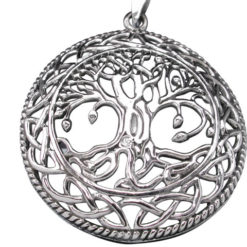 Sterling Silver 35mm Round Celtic Tree Of Life Pendant