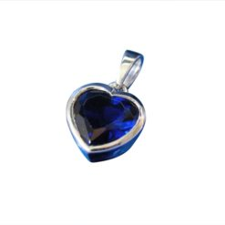 Sterling Silver 8mm Blue Heart Cubic Zirconia Pendant