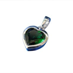 Sterling Silver 8mm Green Heart Cubic Zirconia Pendant