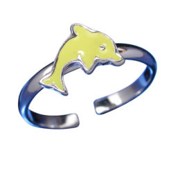 Sterling Silver 7mm Yellow Dolphin Toe Ring
