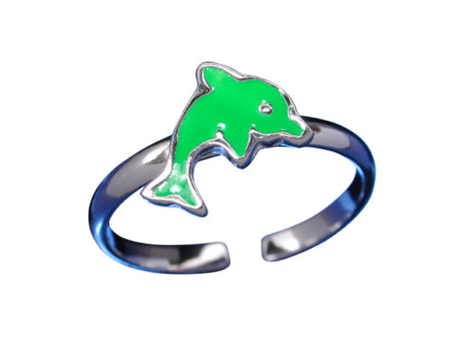 Sterling Silver 7mm Green Dolphin Toe Ring