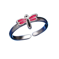 Sterling Silver 5mm Pink & Black Enamel Dragonfly Toe Ring