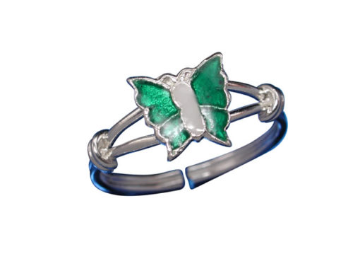 Sterling Silver 7mm Green & White Enamel Butterfly Toe Ring