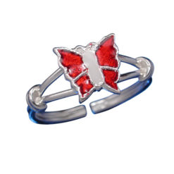 Sterling Silver 7mm Red & White Enamel Butterfly Toe Ring