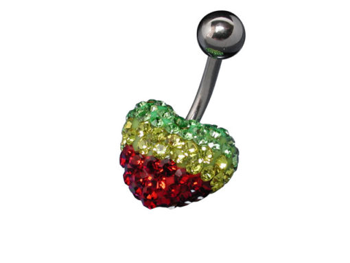 Surgical Steel Red, Yellow And Green Crystal Heart Banana