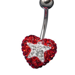 Surgical Steel Red And White Crystal Star And Heart Banana